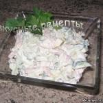 Салат из огурцов ветчины и яиц