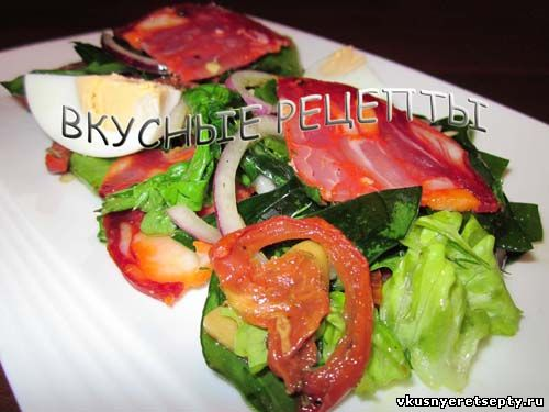 рецепты салатов с копченой колбасой рецепты с фото