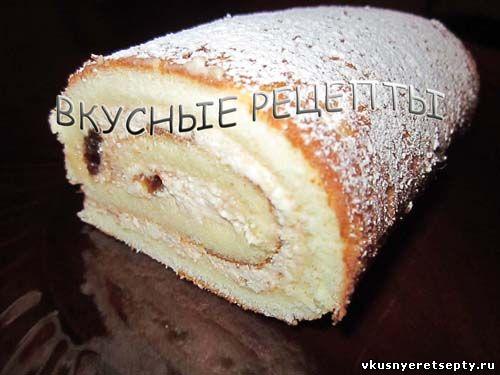 рецепт рулета бисквитного з сиром