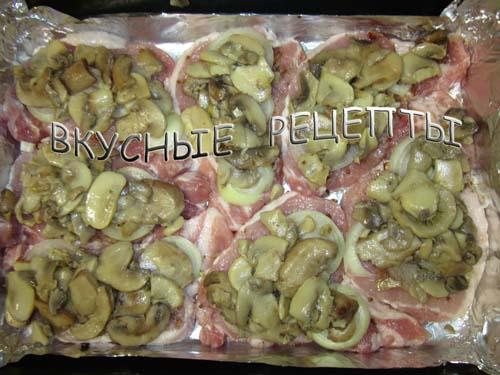 Мясо с грибами в духовке5