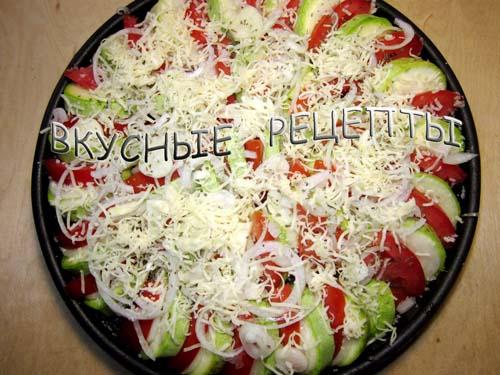 Кабачки с помидорами в духовке4